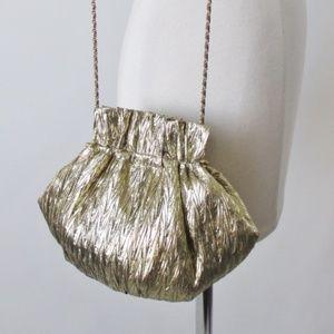Vintage 80's Gold Chain Strap Evening Bag Purse